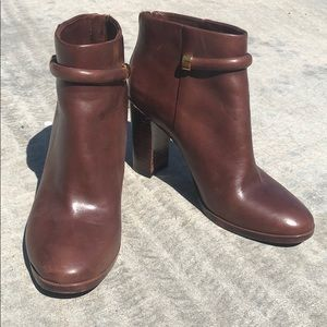 Aerin Whiskey Leather Ankle Boots